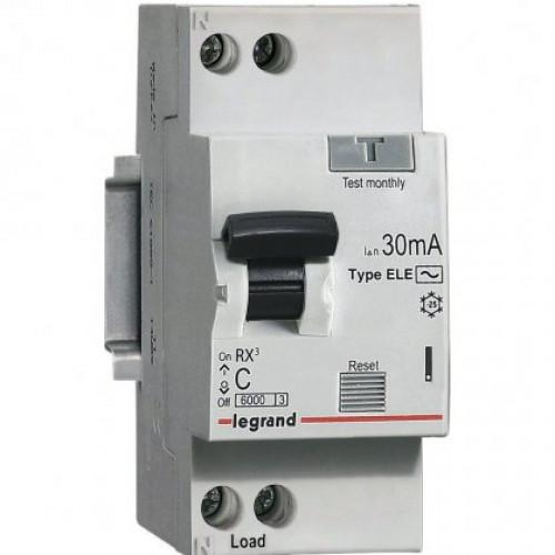Автоматический выключатель дифференциального тока  АВДТ RX3  30мА 6А 1П+Н AC 419396