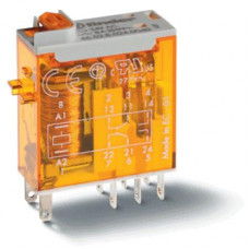 Миниатюрное промышленное электромеханическое реле;  2СO 8A;  катушка 24B АC;опции: кнопка тест + мех.индикатор