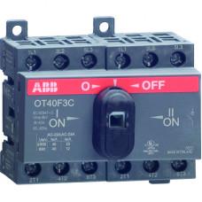 Реверсивный рубильник OT16F3С до 16А 3х-полюсный для установки на DIN-рейку или монтажную плату (с резерв. ручкой)