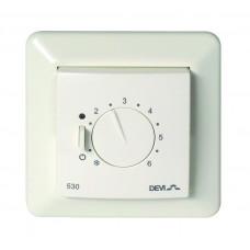 Терморегулятор Devireg D530,  от +5°C до +45°C, скрытого монтажа, белый (с датчиком пола) 140F1030